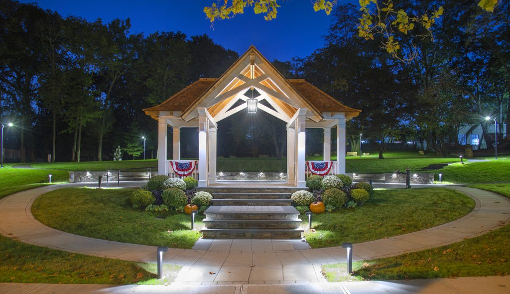 constitution park gazebo at night with lights
